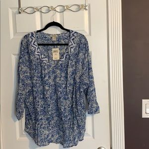 Lucky Brand Blue Floral Blouse